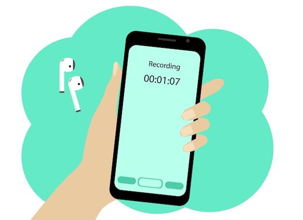 Wektor rysunek dłoni z telefonem komórkowym. telefon nagrywa wiadomość głosową