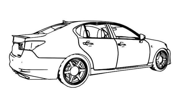 Wektor rysunek lexus gs wykonane w czarne linie konturowe na białym tle.