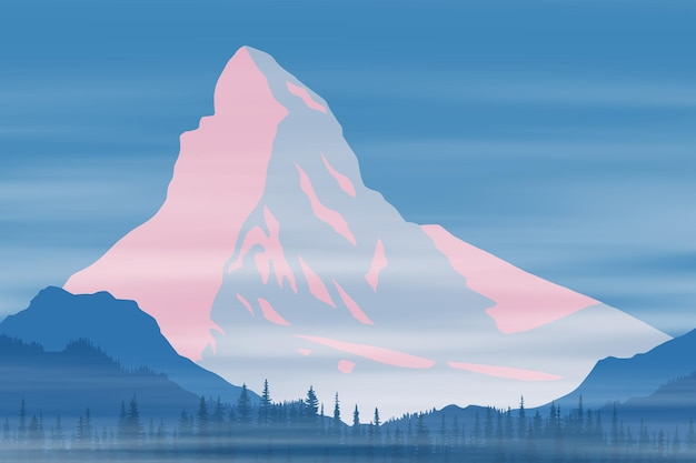 Wektor rysunek matterhorn, alpy, krajobraz świtu, szczyt w wschodzie słońca