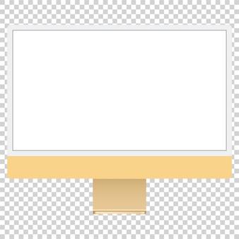 Wektor rysunek nowoczesny komputer żółty na białym tle
