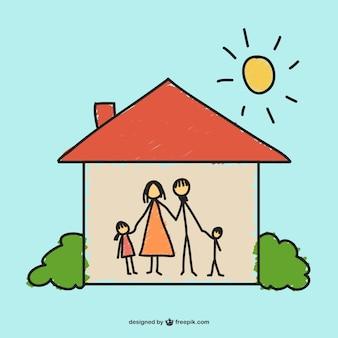 Wektor rysunek szczęśliwy dom
