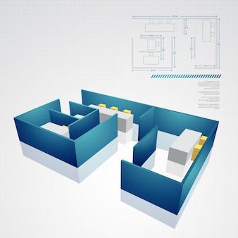 Wektor rysunek techniczny architektoniczny