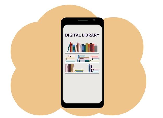 Wektor rysunek telefonu komórkowego z wizerunkiem książek i biblioteką cyfrową tekstu