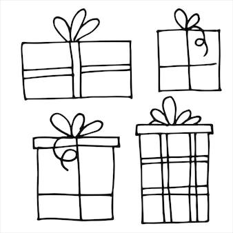 Wektor rysunek w stylu doodle zestaw prezentów na boże narodzenie nowy rok urodziny