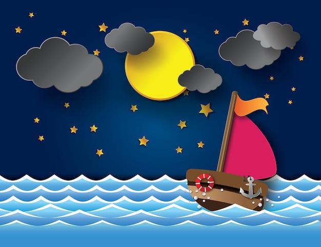 Wektor sailboatand latarnia morska przy nocą.