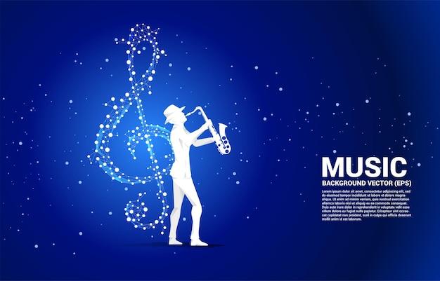 Wektor saksofonista z nutą kluczową muzyki sol z linii połączenia kropki. koncepcja tło dla tematu piosenki i koncertu.