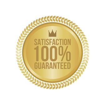 Wektor satysfakcja gwarantowana złoty znak, okrągła etykieta