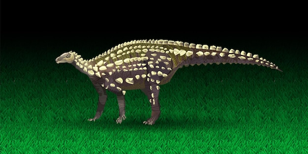 Wektor scelidosaurus ornithischian dinozaur monochromatyczne ilustracji wektorowych sylwetka prehisto...