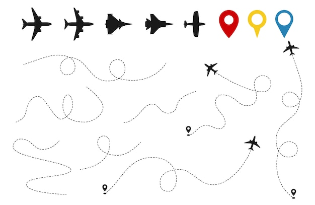 Wektor ścieżki samolotu. śledzenie samolotów, sylwetki samolotów, szpilki lokalizacji na białym tle