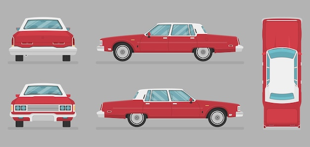 Wektor sedan - widok z boku - widok z przodu - widok z tyłu -
