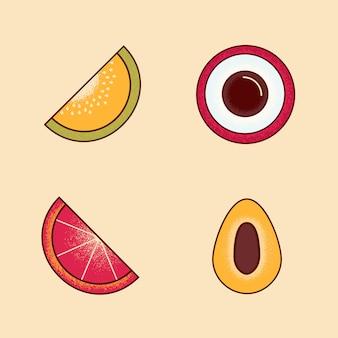 Wektor set owoc, melon, lychee, grapefruitowy, śliwka