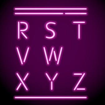 Wektor siatki realistyczne litery neonów