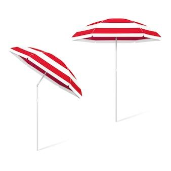 Wektor składany kolorowy parasol plażowy z regulowanym pochyleniem - biało-czerwone paski, na białym tle