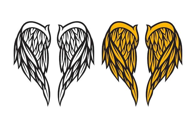 Wektor skrzydła anioła na białym tle