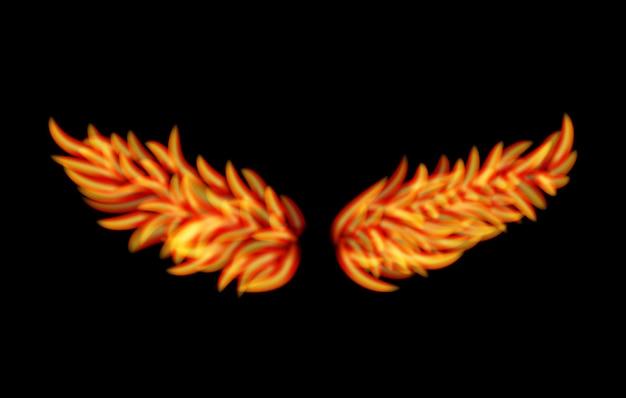 Wektor skrzydła płomienia na białym tle