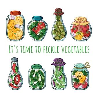 Wektor słoiki konserwowanych warzyw.