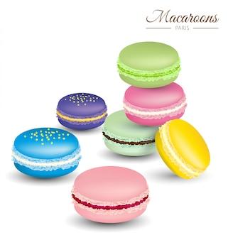 Wektor smaczne kolorowe francuskie makaroniki