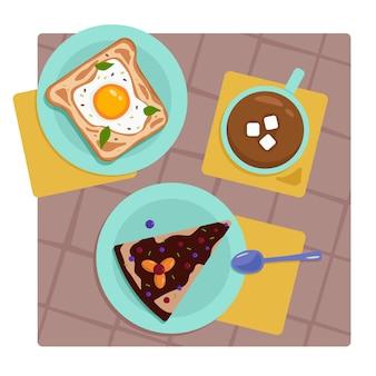 Wektor śniadaniowy kanapka z jajkiem kawa z piankami