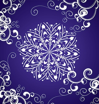Wektor śnieżynka na niebieskim tle zimowe boże narodzenie ilustracji