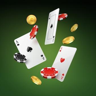 Wektor spadające karty do gry, złote monety i czarne, czerwone żetony na białym tle na zielonym tle