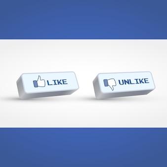 Wektor społecznych przyciski stylu 3d