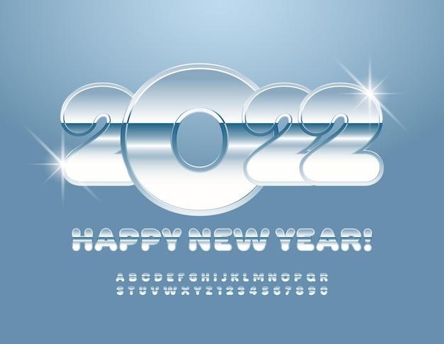 Wektor srebrny kartkę z życzeniami szczęśliwego nowego roku 2022 kreatywny metaliczny alfabet litery i cyfry zestaw