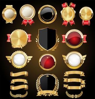 Wektor średniowieczne złote tarcze kolekcja wieńce laurowe i odznaki