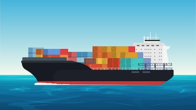 Wektor statek towarowy z kontenerami na oceanie. dostawa, transport, spedycja, transport towarowy