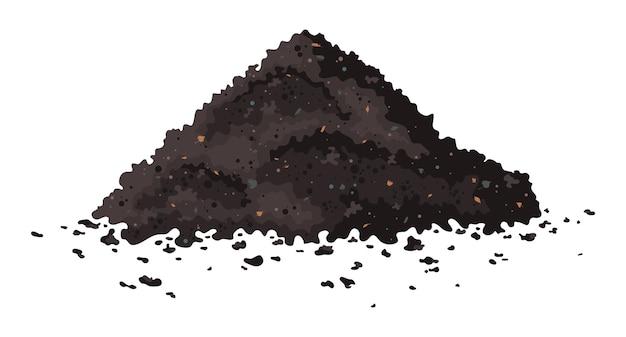 Wektor stos gleby jeden duży brązowy stos organicznego kompostu
