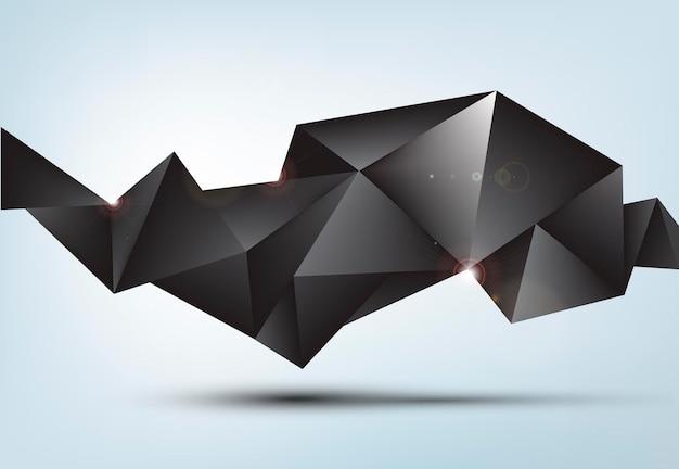 Wektor streszczenie czarny błyszczący fasetowany kryształ transparent, kształt 3d z trójkątami, geometryczny, nowoczesny szablon