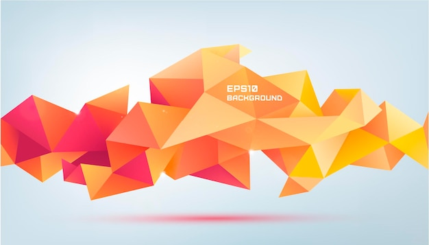 Wektor streszczenie geometryczny kształt 3d aspekt. użyj do banerów, stron internetowych, broszur, reklam, plakatów itp. tło w nowoczesnym stylu low poly. czerwony i pomarańczowy sztandar origami