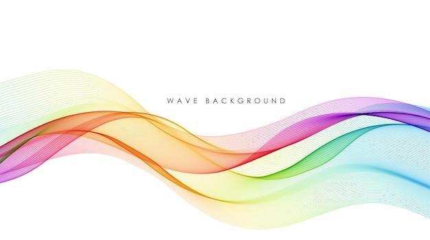 Wektor streszczenie kolorowe linie płynące fala na białym tle