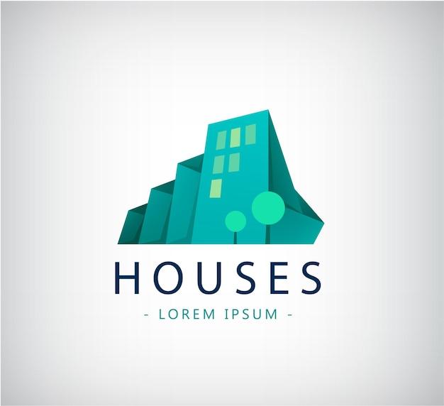 Wektor streszczenie kolorowe miasto, znak składu budynku, ikona, logo na białym tle. zielone domy origami 3d z drzewami