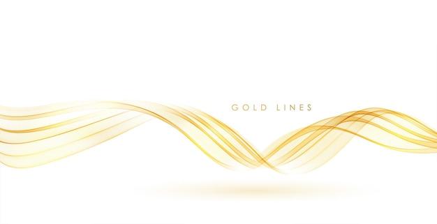 Wektor streszczenie kolorowe płynące złote linie fal na białym tle element projektu dla ś...