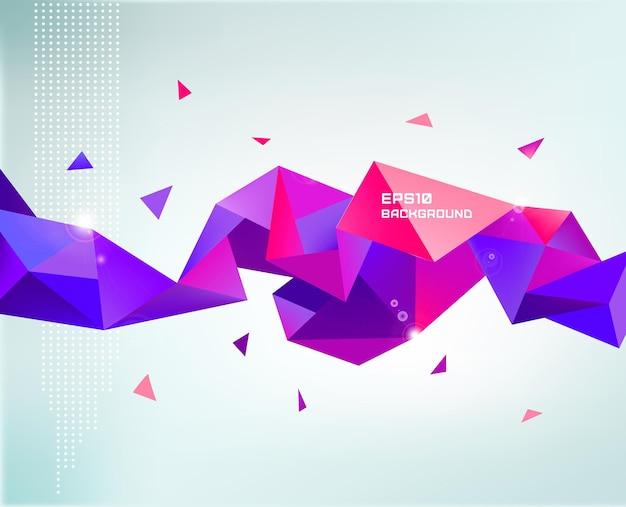 Wektor streszczenie kolorowy fioletowy fasetowany kryształ transparent, kształt 3d z trójkątami, geometryczny, nowoczesny szablon