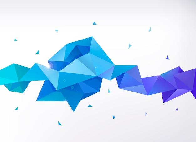 Wektor streszczenie kolorowy niebieski fasetowany transparent kryształ, kształt 3d z trójkątami, geometryczny, nowoczesny szablon