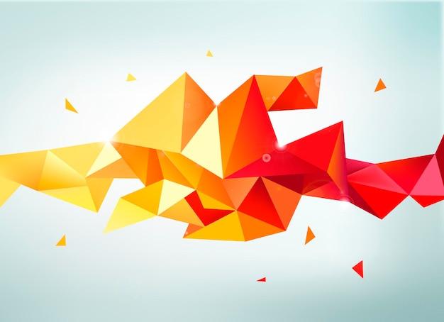 Wektor streszczenie kolorowy pomarańczowy, czerwony, żółty fasetowany transparent kryształ, kształt 3d z trójkątami, geometryczny, nowoczesny szablon
