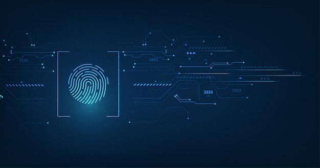 Wektor streszczenie koncepcji systemu bezpieczeństwa z odciskiem palca na tle technologii.