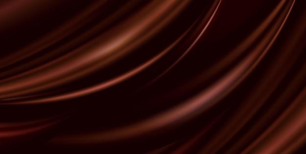 Wektor streszczenie luksusowe brązowe tło tkaniny. jedwabna tekstura, płynna fala, faliste fałdy elegancka tapeta. realistyczny ilustracyjny satynowy aksamitny materiał na baner, projekt