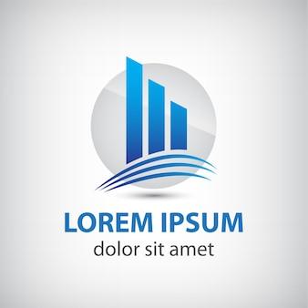 Wektor streszczenie niebieska ikona, na białym tle sylwetka budynku logo
