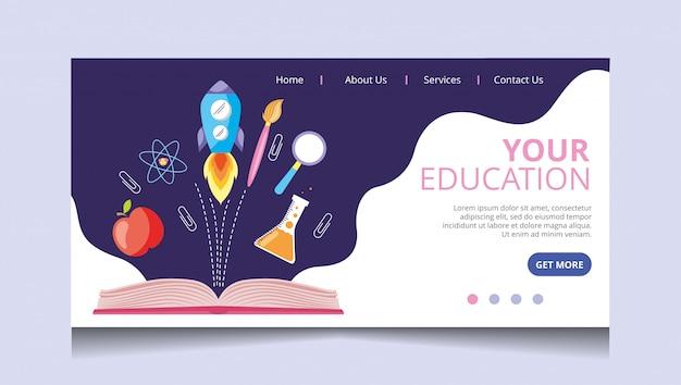 Wektor strony docelowej edukacji