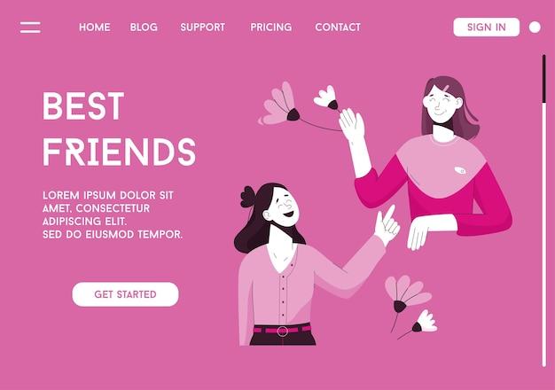 Wektor strony docelowej koncepcji najlepszych przyjaciół