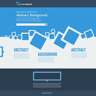 Wektor strony internetowej. abstrakcyjne kwadraty broszura niebieski