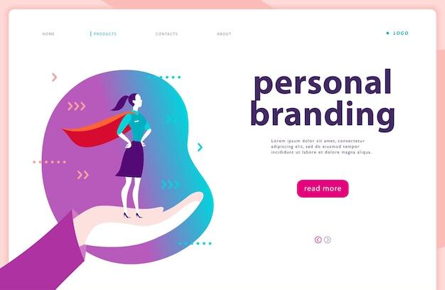 Wektor strony internetowej szablon marki osobistej biznes komunikacja doradztwo planowanie projektowanie strony docelowej biznes dama stojąca jako super bohater na ludzkiej dłoni baner sieciowy ilustracja aplikacji mobilnej