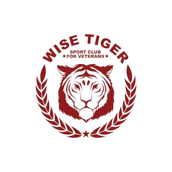Wektor styl vintage odznaka szablon z tygrysem