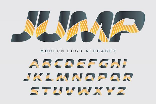 Wektor stylizowane kolorowe czcionki i alfabet dla wzorów logo