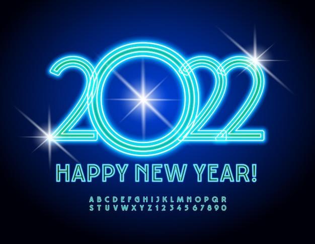 Wektor stylowe kartkę z życzeniami szczęśliwego nowego roku 2022 niebieski neon alfabet litery i cyfry zestaw