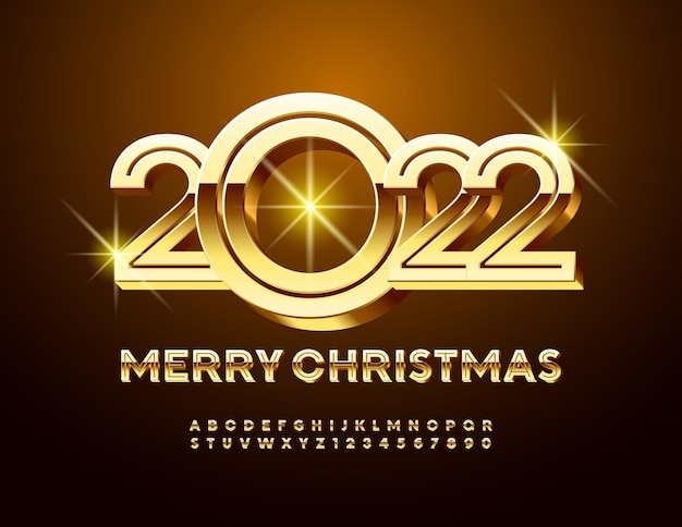 Wektor stylowe kartkę z życzeniami wesołych świąt 2022 gold kreatywnych liter alfabetu i cyfr