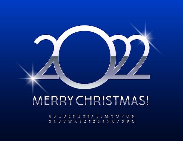 Wektor stylowe kartkę z życzeniami wesołych świąt 2022 srebrna czcionka odblaskowa metaliczny luksusowy alfabet