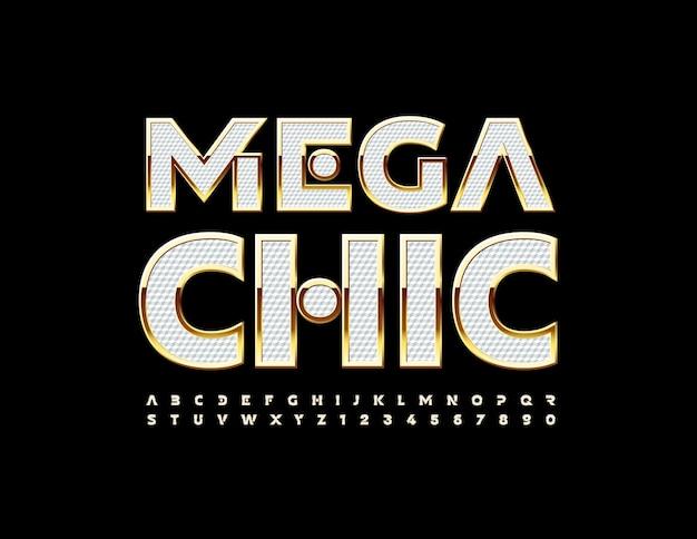 Wektor stylowe logo mega chic białe i złote litery alfabetu i cyfry creative eleganckie czcionki